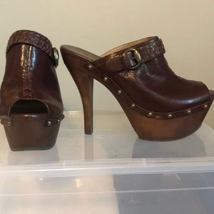 Jessica Simpson Brown Leather Wedge Mules